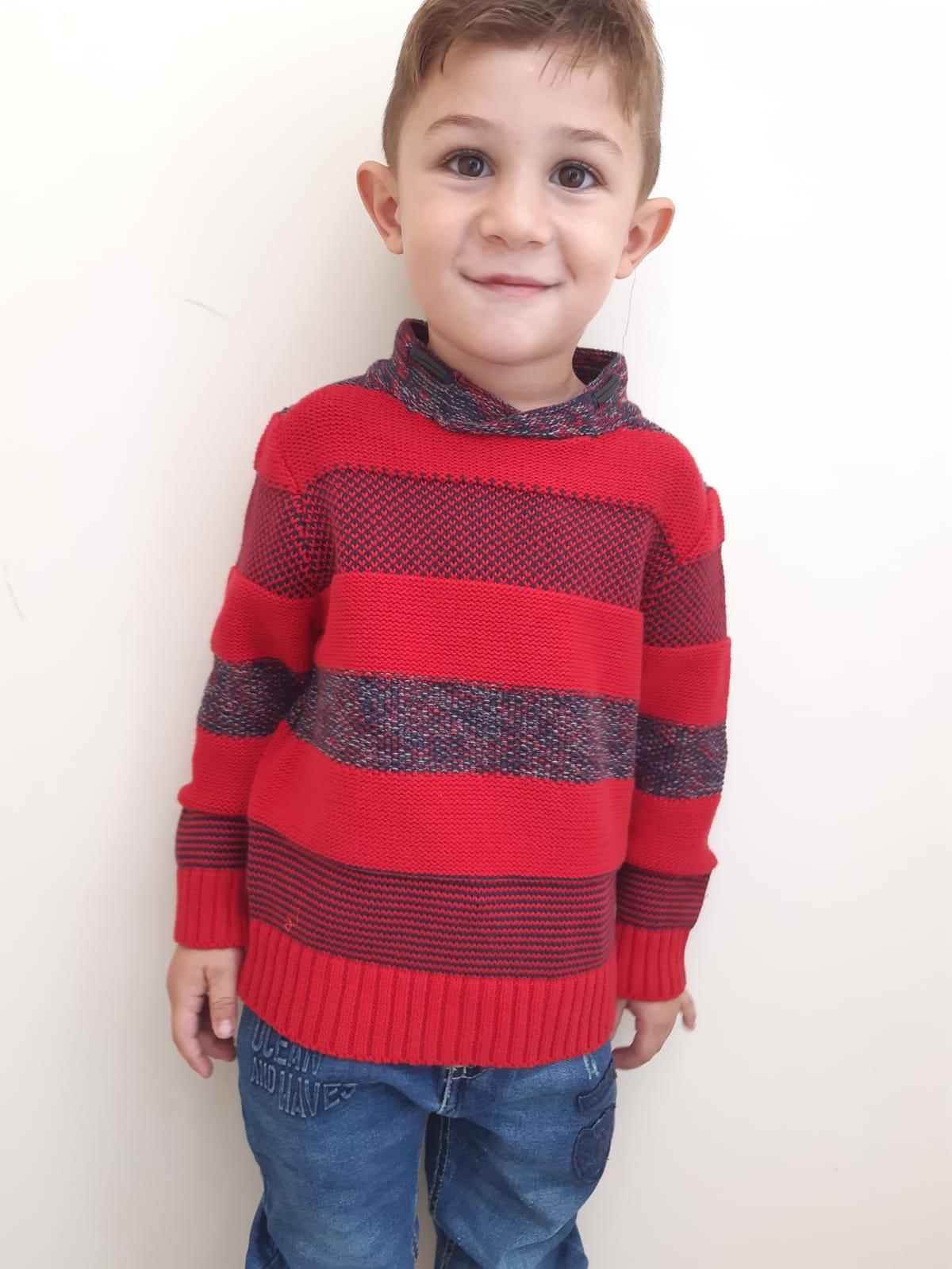 outlet in vendita nuovi arrivi fama mondiale Maglione a righe di colore blu e rosso maglioncino caldo cotone a maniche  lunghe- Losan Bambino